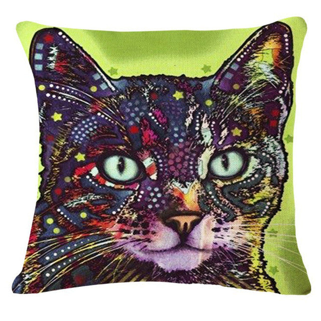 Green Psychedelic Cat Pillow