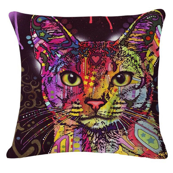 Super Psychedelic Cat Pillow