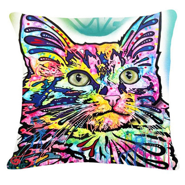 Tabby Psychedelic Cat Pillow