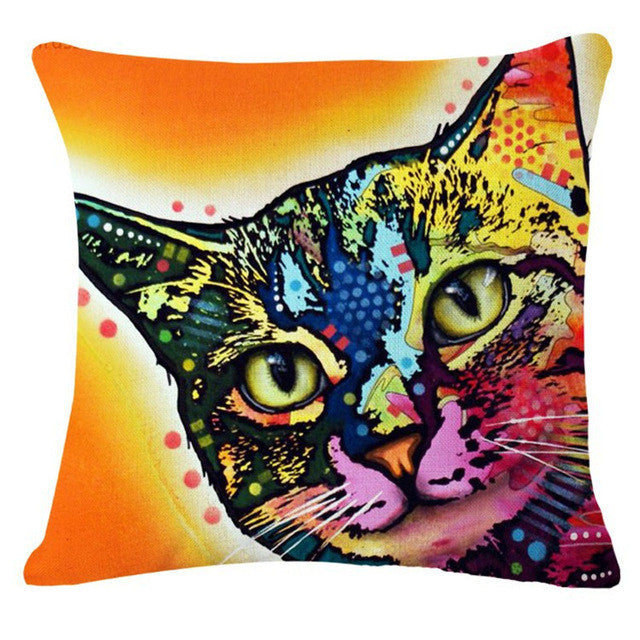 Warm Psychedelic Cat Pillow