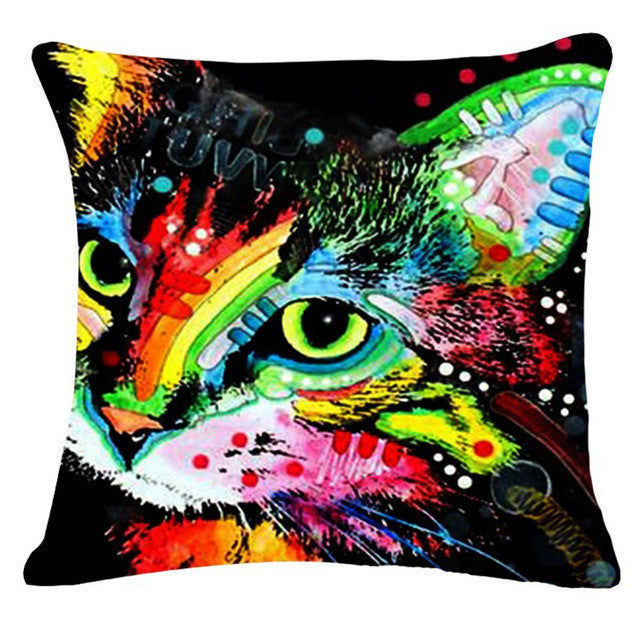 Vivid Psychedelic Cat Pillow