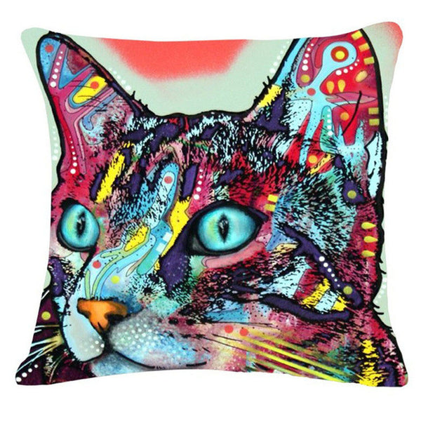 Psychedelic Kelidescope Cat Pillow