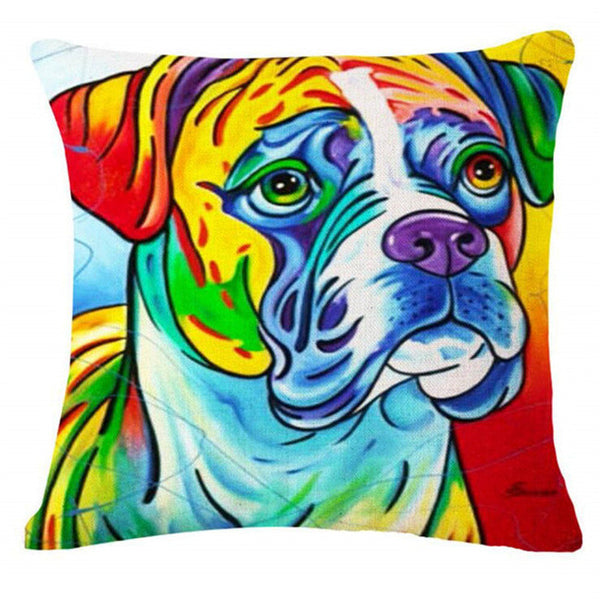 Boxer European Oil Painting Style Throw Pillowcase