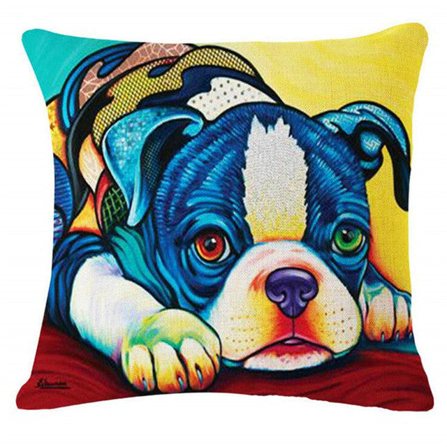 Boston Terrier European Oil Painting Style Throw Pillowcase