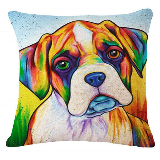 Boxer Puppy European Oil Painting Style Throw Pillowcase