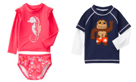 Baby boy and girl rash guards from Gymboree teething jewelry