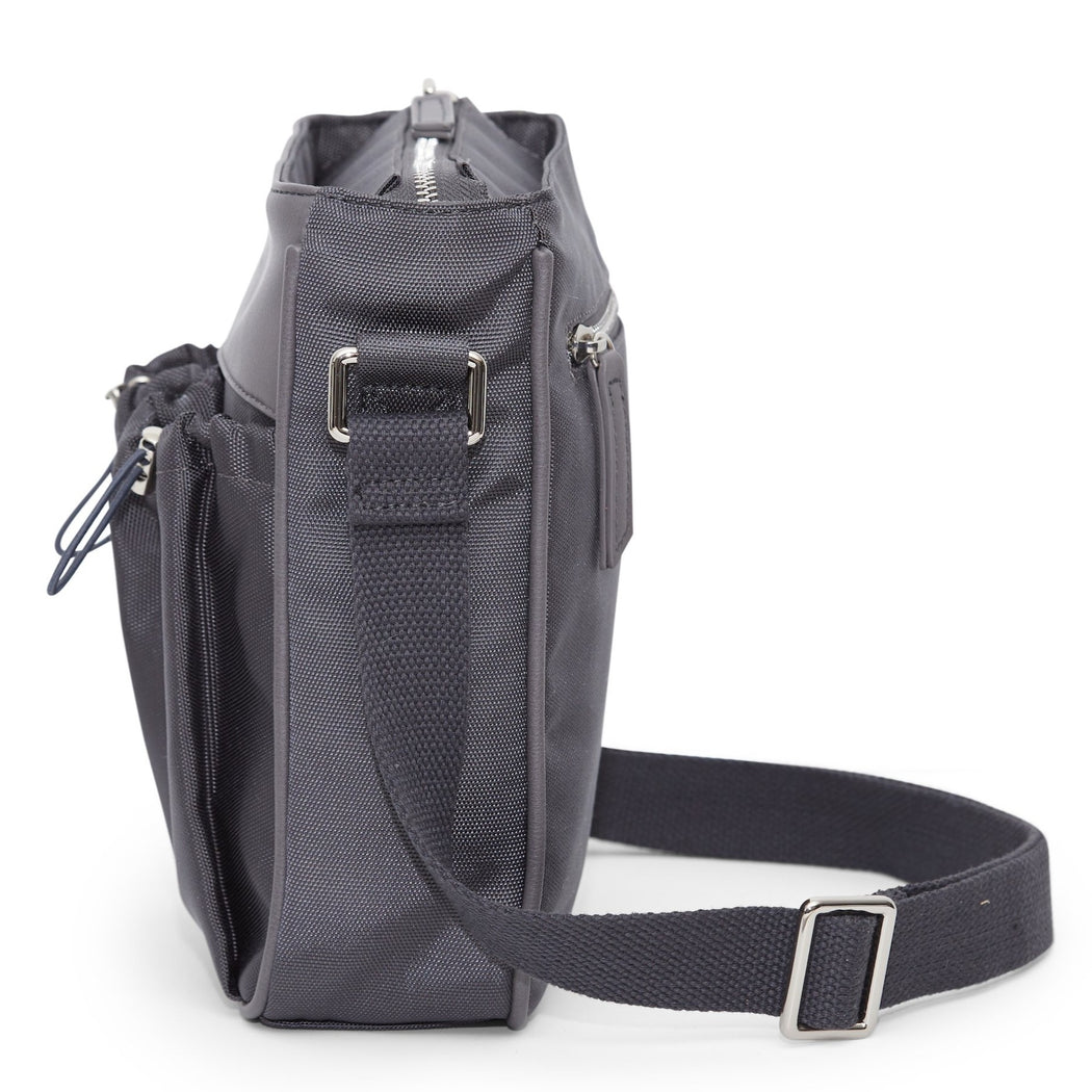 crossbody parent bag in slate - back pocket