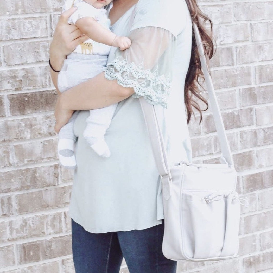 crossbody parent bag in gray