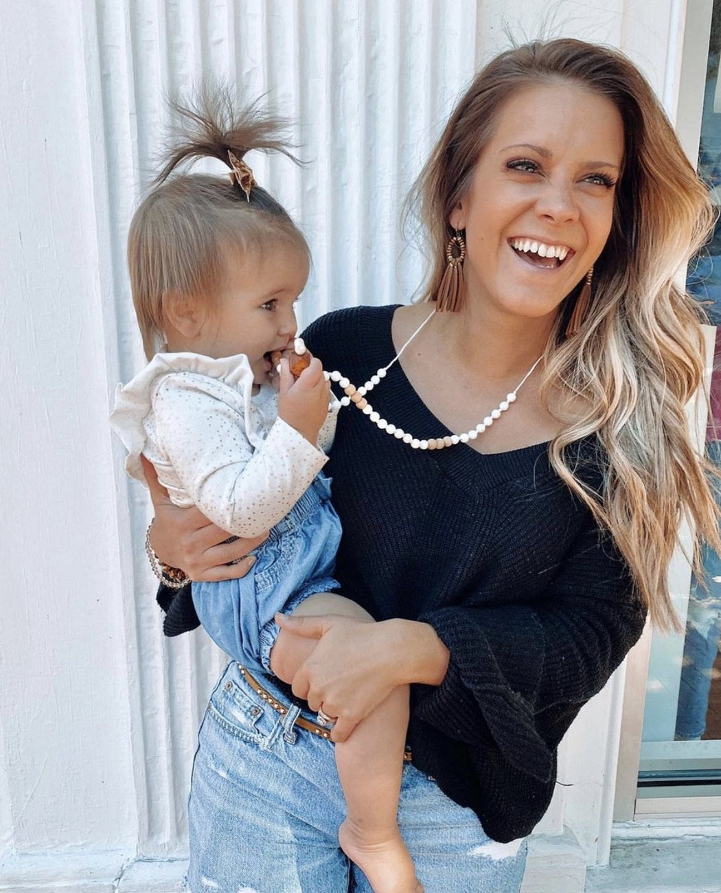mom and baby with inner balance teething necklace