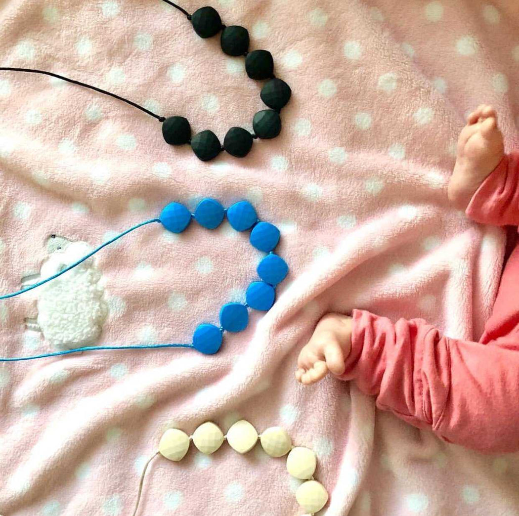 silicone teething necklace for mom, teething jewelry faceted diamond beads