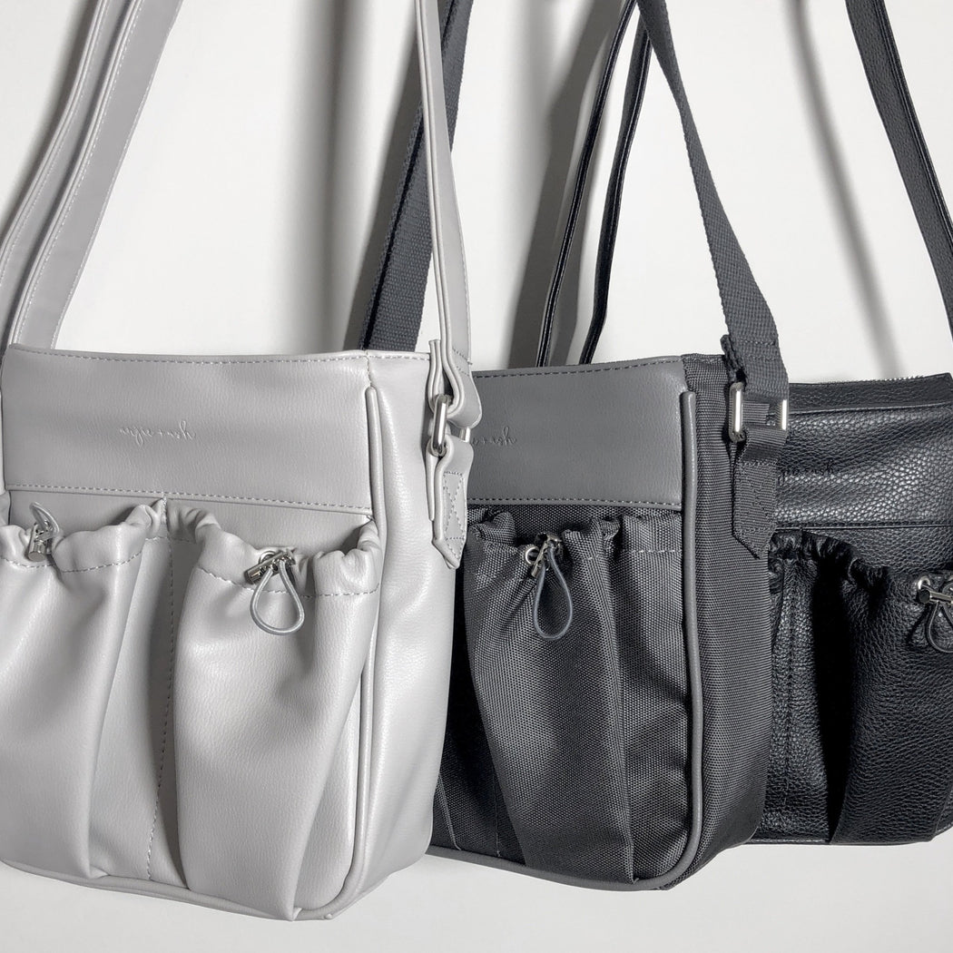 crossbody parent bags in gray and black