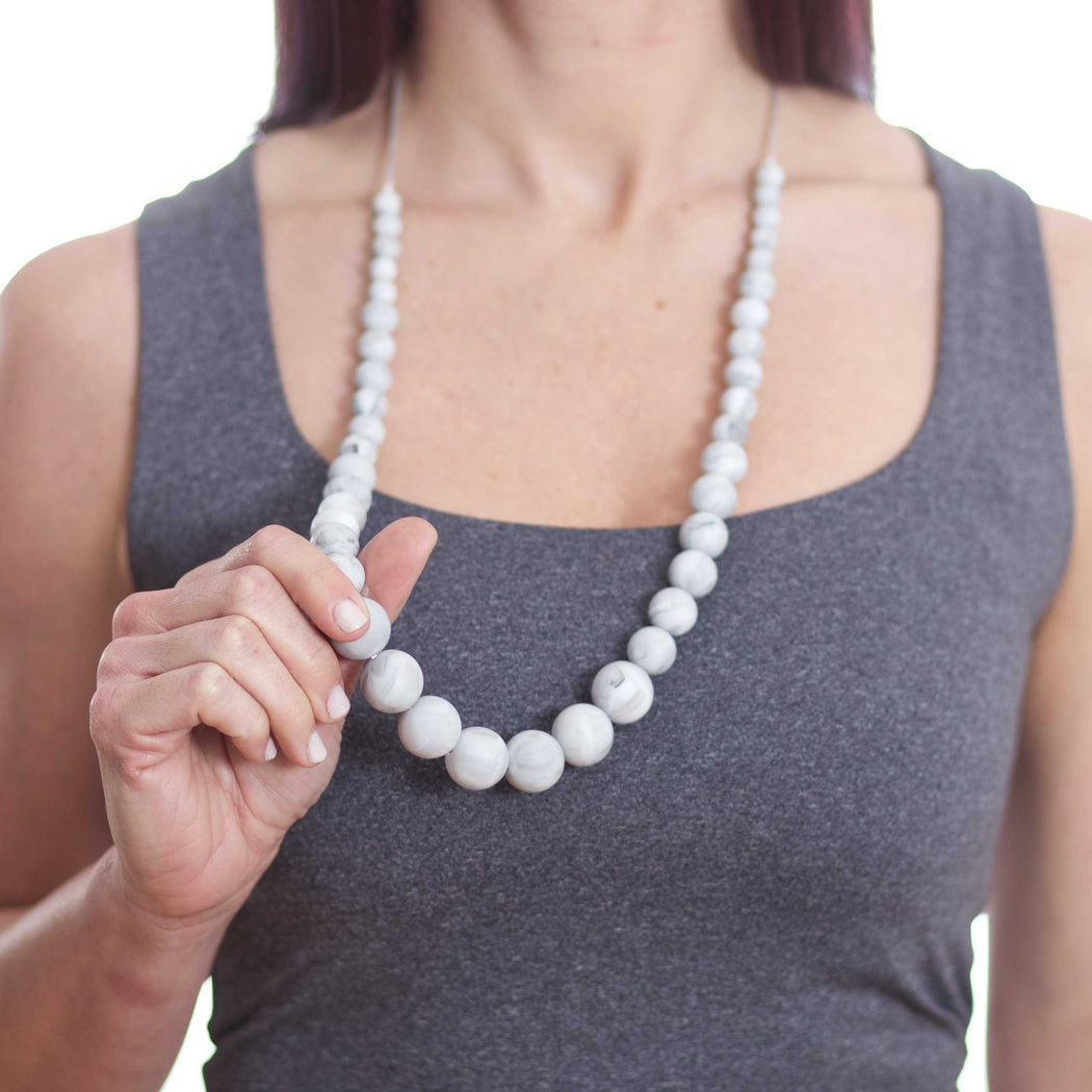 teething jewelry for mom - mona marble teething necklace