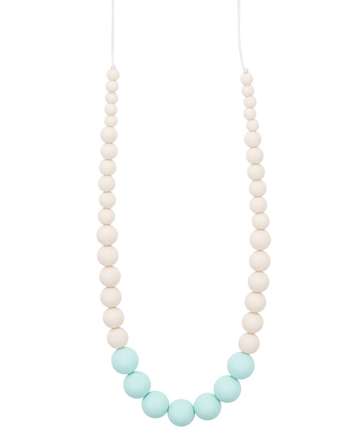 teething necklace in mint vanilla