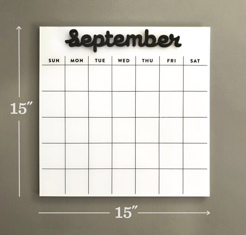 Dry erase calendar SMALL - Magnetic Acrylic calendar- Lucite calendar - wall calendar