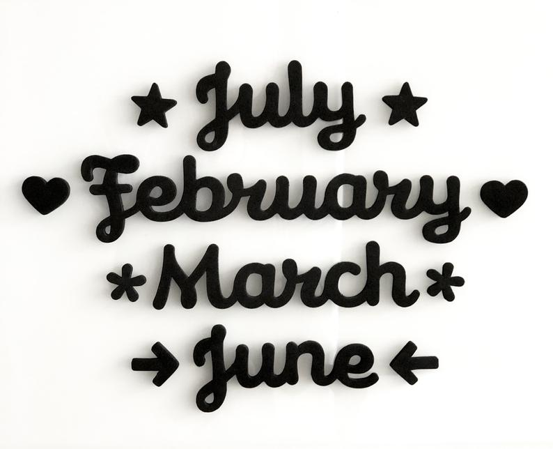 Magnetic month words