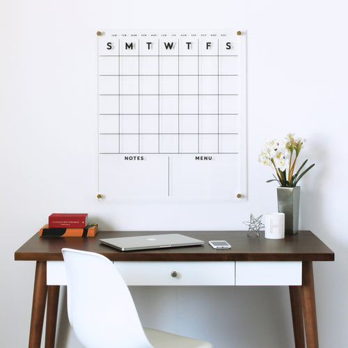 STANDARD Acrylic Calendar with Bottom Notes AND Menu