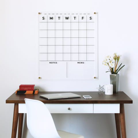 FAMILY NAME Standard Acrylic Calendar with Notes & Menu
