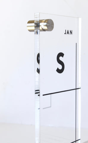 Acrylic Calendar PREMIUM with Side Notes - Dry erase calendar