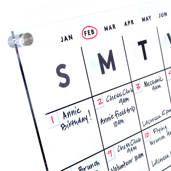 Dry Erase Acrylic Calendar With Side Notes