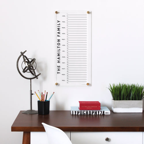 Acrylic personalized monthly calendar - tall