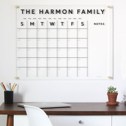 Acrylic Calendar family name PREMIUM with Side Notes - Dry erase calendar