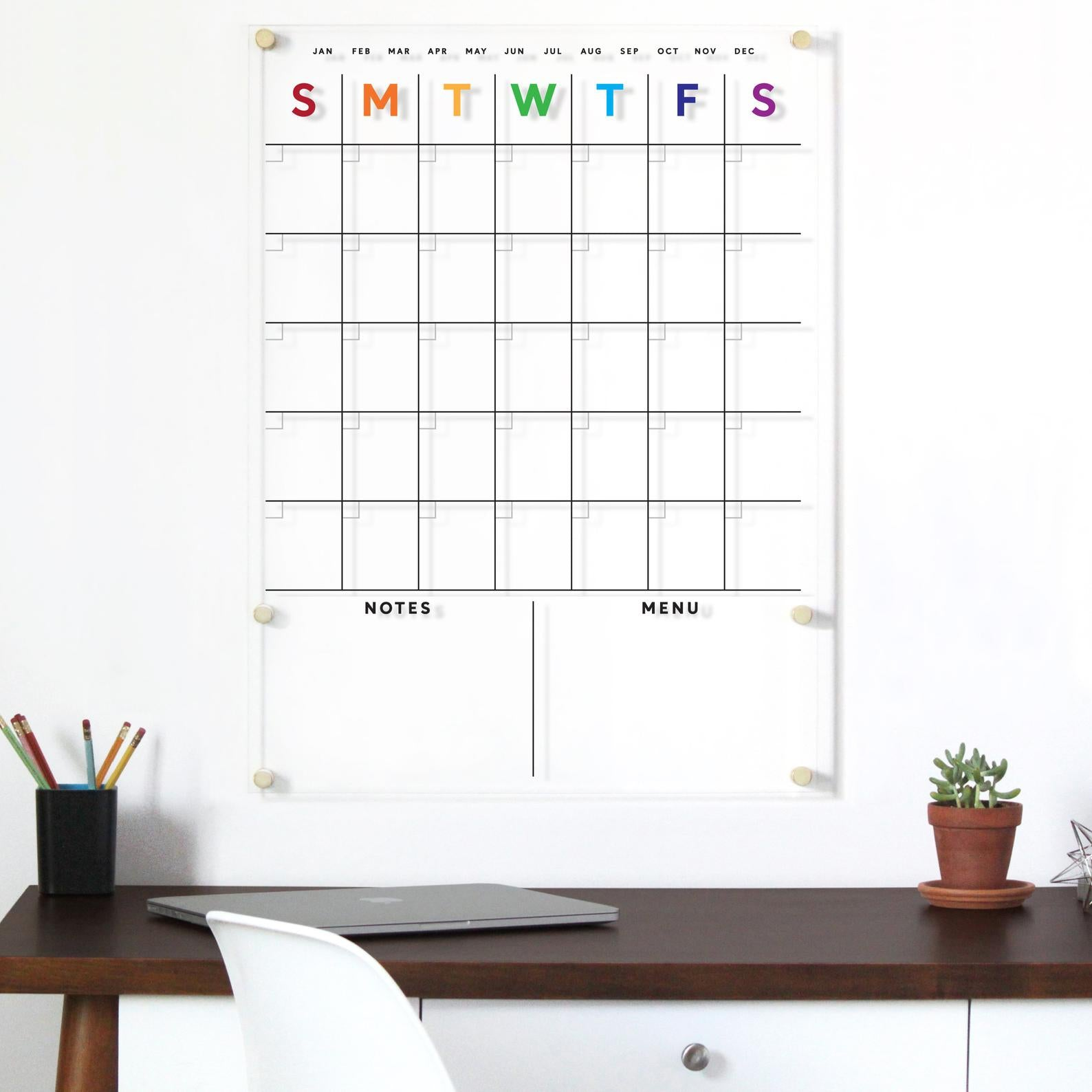 Acrylic Calendar RAINBOW with bottom notes CUSTOMIZABLE - Dry Erase Calendar - Lucite Calendar