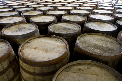 A bunch of Whiskey Barrels