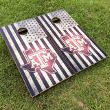 American flag and Texas A&M Cornhole Boards