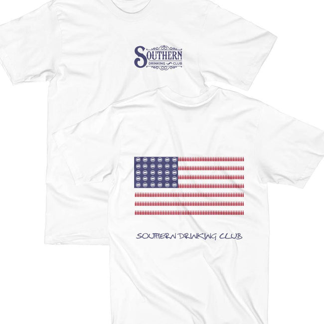 Front and Back of Drinking American Flag Drinking Shirt