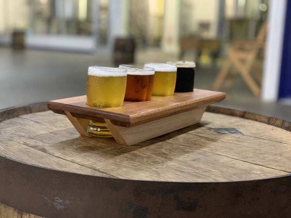 Whiskey and Beer Wood Flight Tray