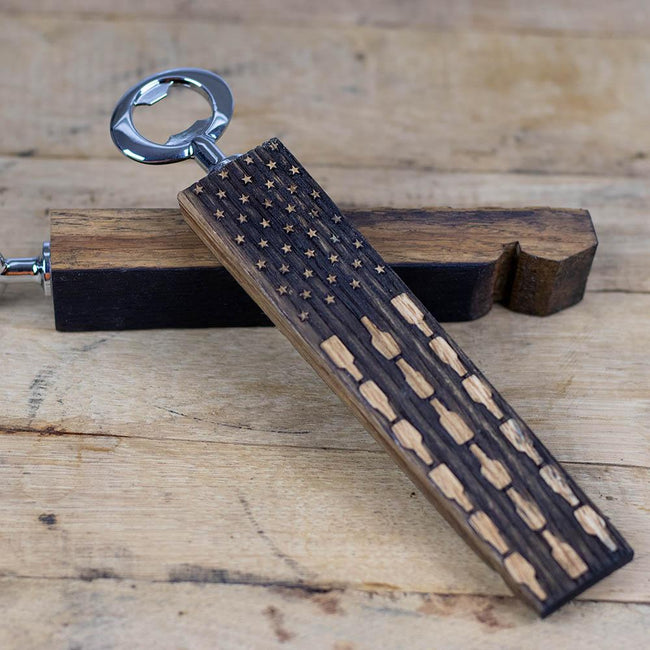 Red white and Booze Whiskey Barrel Bottle Opener