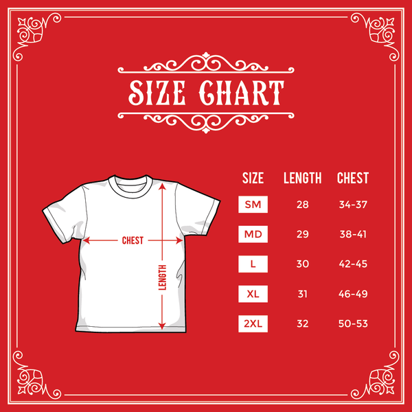 Size Chart for Whiskey Bent Shirt