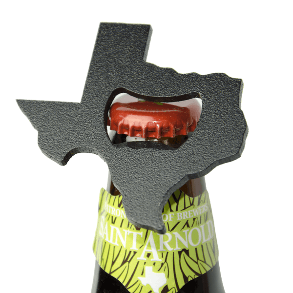Texas Shaped Bottle Opener on a Texas Beer