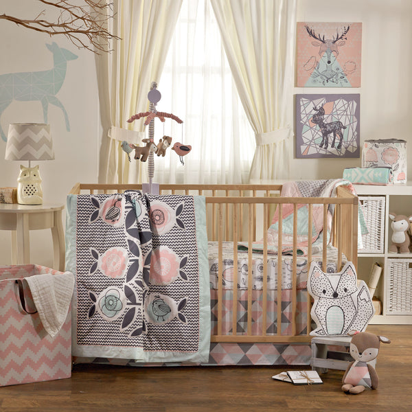 4pc Crib Bedding Set - Sparrow