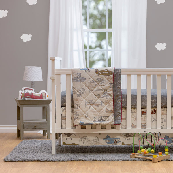 Crib Bed Skirt - Aeroplanes