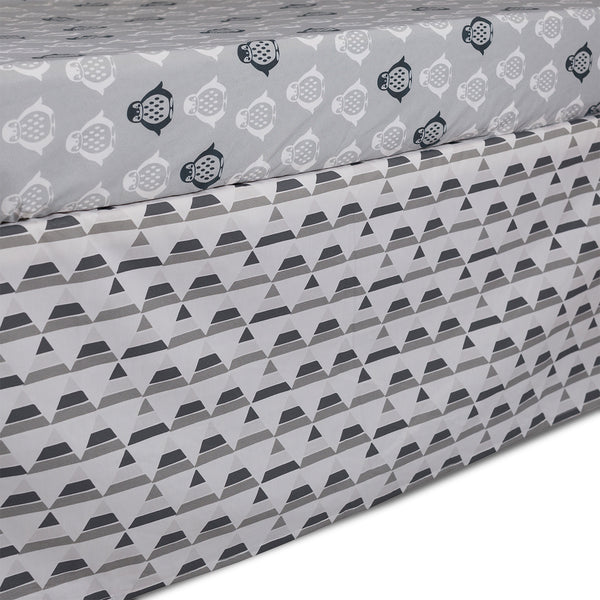 Crib Bed Skirt - Grey Triangle - Living Textiles Co.