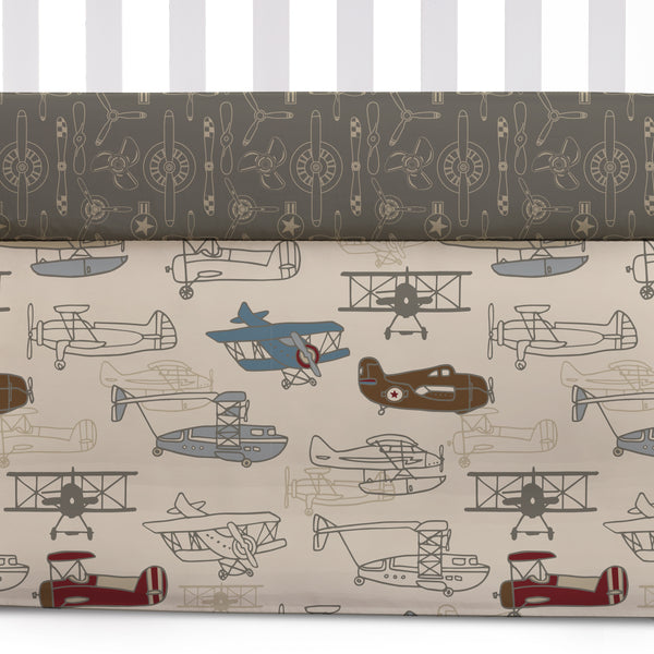Aeroplanes Crib Bed Skirt