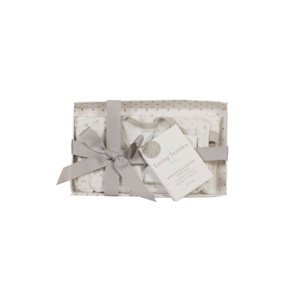 Gift Set - Grey Bodysuit & Beanie (3Š—–6 Months) - Living Textiles Co.