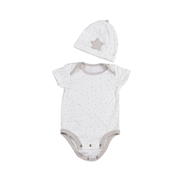 Gift Set - Grey Bodysuit & Beanie (6Š—–12 Months) - Living Textiles Co.