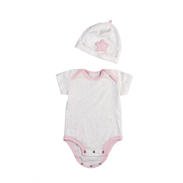 Gift Set - Pink Bodysuit & Beanie (6–12 Months) - Living Textiles Co.