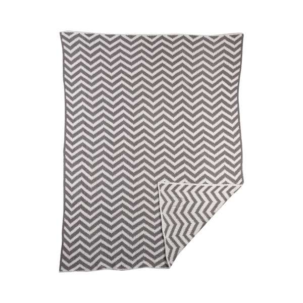 Chenille Blanket - Grey Chevron
