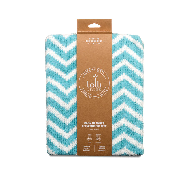 Mod Teal Chevron Chenille Baby Blanket | Lolli Living | Living Textiles Co.
