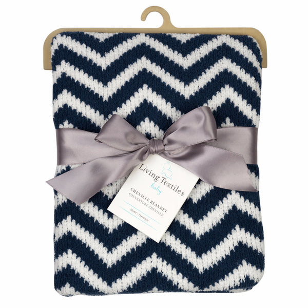 Chenille Blanket - Navy Chevron - Living Textiles Co.