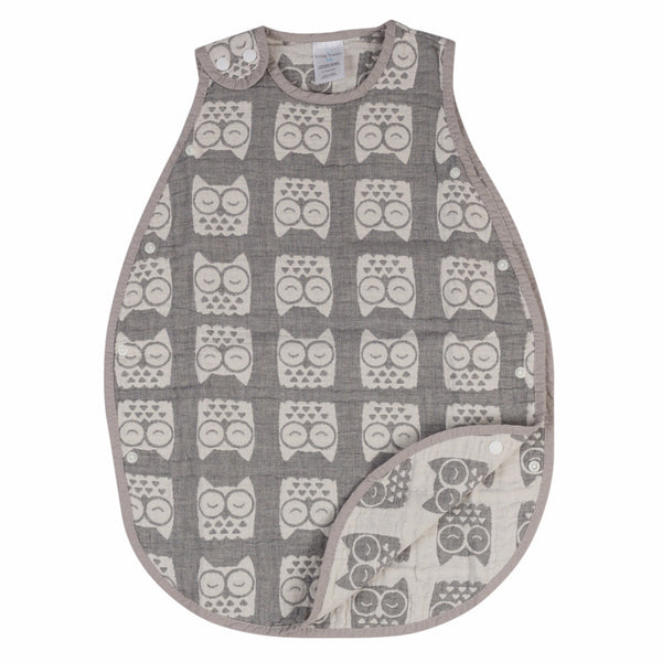 Muslin Reversible Wearable Blanket - Grey Owl - Living Textiles Co.