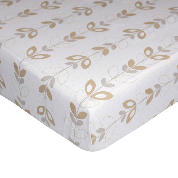 Fitted Sheet - Neutral Leaves - Living Textiles Co.
