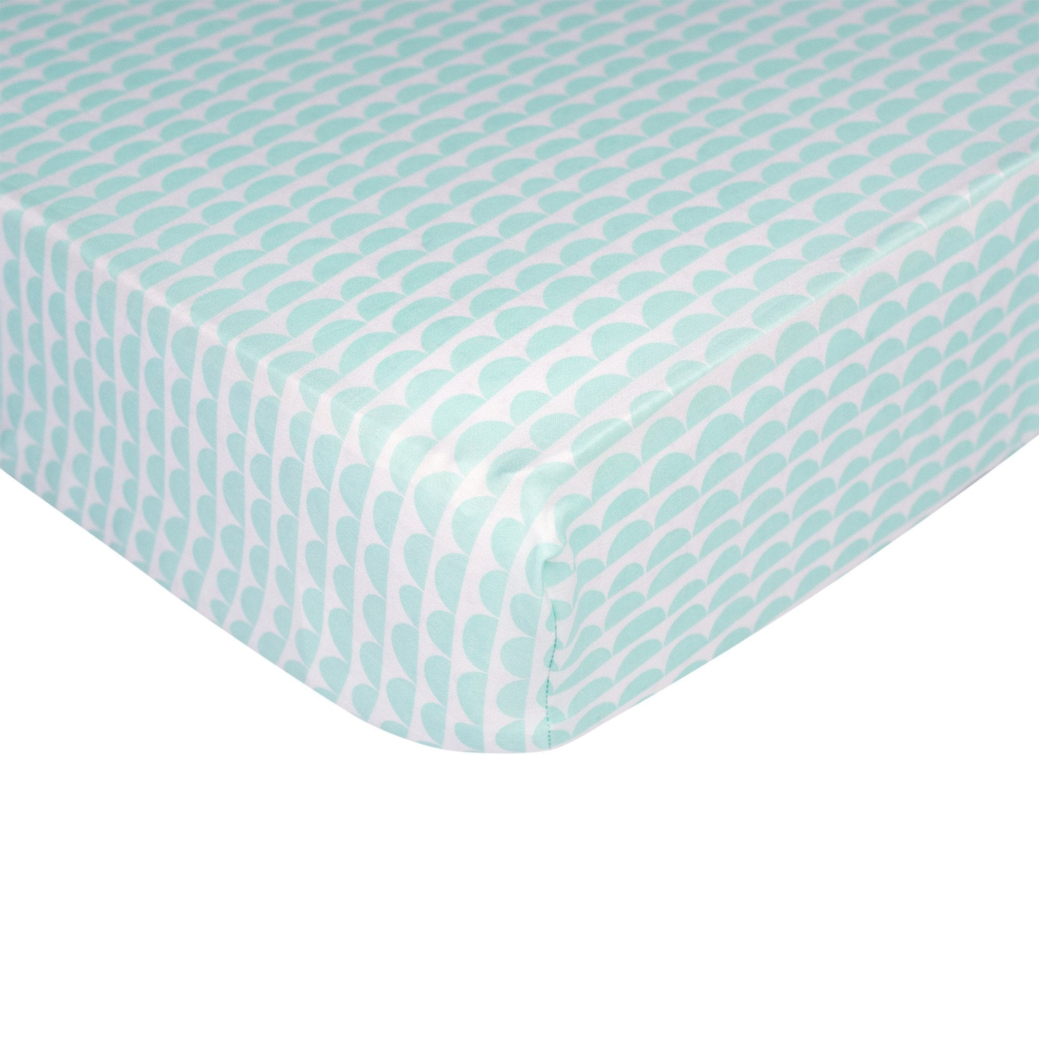 Fitted Sheet - Mint Scallop - Living Textiles Co.