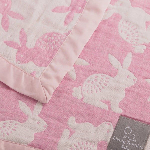 Muslin Jacquard Blanket - Pink Bunny - Living Textiles Co.