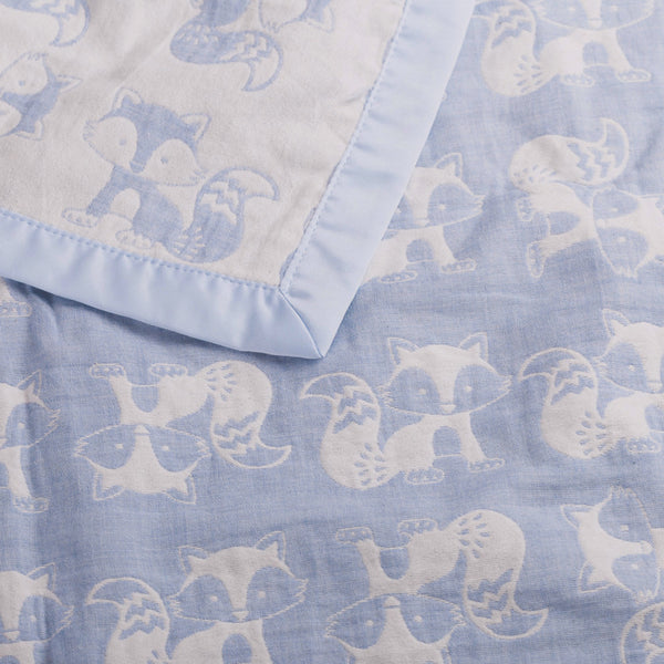 Muslin Jacquard Blanket - Blue Fox