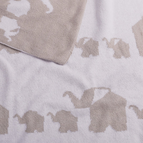 Baby Blanket - Elephant Parade Knitted