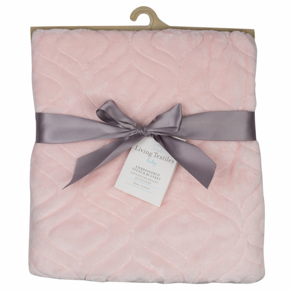 Embroidered Velour Blanket - Pink Koko Rose - Living Textiles Co.